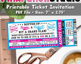 Printable Baseball Team Boy or Girl Gender Reveal Party Ticket Invitation Personalized PDF File