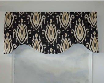Surat Black and Yellow Contemporary Ikat Valance