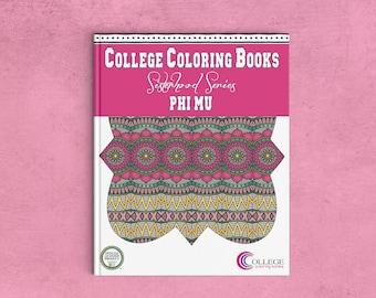 Phi Mu Fraternity Coloring Book   Sorority Recruitment Bid Day Reveal   Big Little Gift   Study Break   Back to School   Greek Licensed