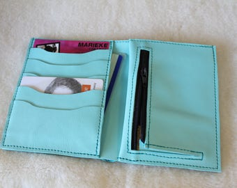 turquoise leather wallet. Unisex leather wallet. leather wallet