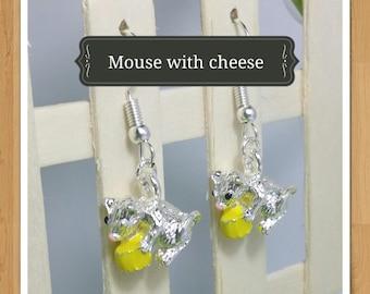 MOUSE CHEESE EARRINGS animal earrings whimsical earrings fun earrings cheese earrings mini food earrings jewellery jewelry nature earrings