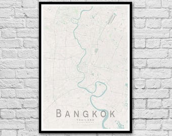 BANGKOK Thailand City Street Map Print | Travel Poster | Unique Wedding Gift | Wall decor | A3 A2 | Minimalist Wall Art | Gift for Couple