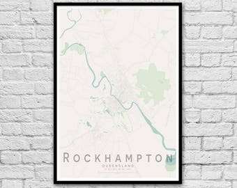 Rockhampton QLD City Street Map Print | Wall Art Poster | Wall decor | A3 A2