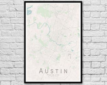 AUSTIN Map Print | United States City Map Print | Texas Wall Art Poster | Wall decor | A3 A2