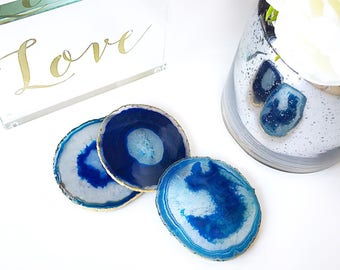 Blue agate coasters. Boho decor agate slice handmade with gold leaf edging. Bohemian home decoration. Price per coaster
