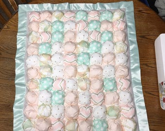 Mint Green Pink and Gold Bubble Quilt