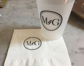 Wedding Logo Cups - 16 oz frost flex personalized