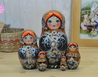 Russian nesting doll, Matryoshka, Gift for mom, Wooden hand painted babushka in black white and gold, Gift for woman, Handmade art dolls