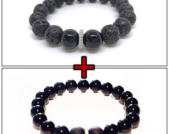 2 pieces black gemstone and real diamond men bracelet
