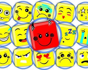 Emoji Bottle Cap Images 1 INCH Round Images Emoji Bottle Cap Emoji images Printable Emoji round images Emoji Collage Sheet Emoji circle 1 in
