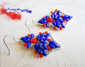 Woven earrings, navette, super-duos indigo blue and orange