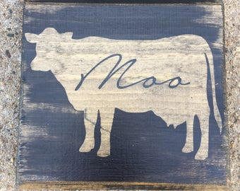 Reclaimed Barn Wood Rustic Farm Sign. 7x7 Cow.Moo. Red, black or white  Made to order.Unique.