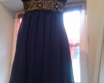 Lovely chiffon dress with a beaded belt