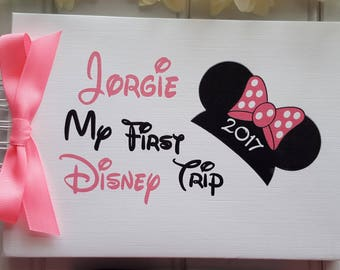 Personalised DISNEY AUTOGRAPH BOOK * My First Disney Trip - Minnie Mouse* Mickey Mouse* Scrapbook Album