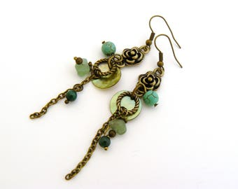 Sea green and bronze earrings