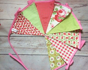 Green Red & Pink Bunting, Double Sided Luxury Pennants, Wedding Decor, Home Kitchen Decor, Christmas Bunting 1.8m/2.4m long