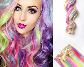 Rainbow Remy 100% human hair clip in extensions. 8 piece, 150 grams! Free shipping!