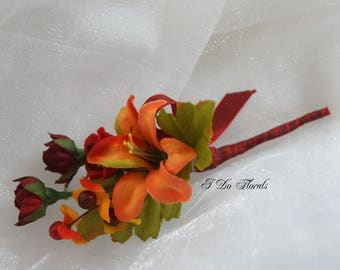 Orange Lily Boutonniere, Lily and Rose Boutonniere, Orange Lily and Red Rose Boutonniere, Orange Tux Lapel Pin, Fall Boutonniere