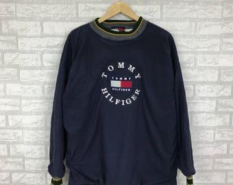 Rare !! Vintage 90s TOMMY HILFIGER Sweatshirt big logo embroidery Hip Hop swag  Fashion Wear  navy blue colour free size (B12)
