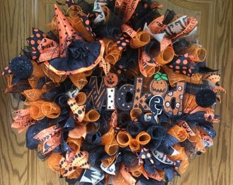 Wicked, Halloween Wreath, Deco Mesh, Witches Hat, Orange, Black, Halloween Ribbon, Holiday