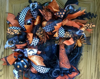 Halloween Wreath, Witches Wreath, Witches Hat, Grapevine Halloween Wreath, Halloween Ribbon Wreath, Classy Witch, Spiders & Pumpkins,