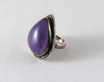 Amethyst silver drop ring
