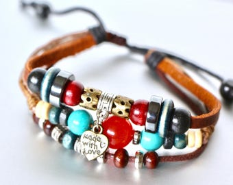 Love Charm Bracelet,Leather Bracelet Bead Bracelet, Free Size Bracelet, Unisex Jewelry, Bohemian Jewelry, Gifts For Lovers, LB71