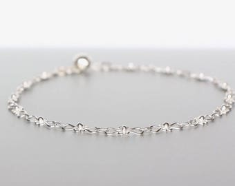 Silver Anklet, Silver Patterned Link Chain, Silver Foot Chain, Pretty Anklet, Bohemian Anklet,Beach Anklet, Feminine Anklet, Minimalist AS93