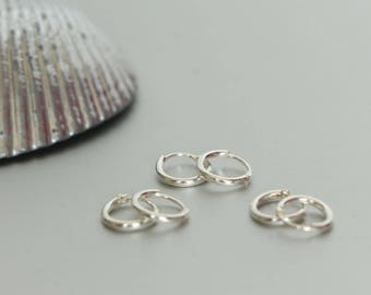 10 mm Ear Hoops, Tiny Silver Ear Hoops Set, Minimalist Earrings, Bohemian Jewelry, Fashionable Hoops, Ear Hoops, Bridesmaids Gift, (E16Sx3)