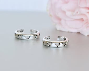 Silver Hearts Toe Ring, Sterling Silver Toe Rings , Free Size Toe Band, Gifts For Her, Bohemian, Bridesmaids Gift, Gift Of Love TS93