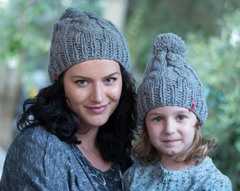 Gray cable knit hats / Pom pom hats / Matching knit hats / Winter hat / Wool hat / Mommy and me / Pom pom beanie / Womens hat / Toddler hat