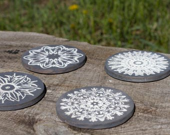 Wood Coasters, Engraved Coasters, Floral Design Coasters, Hand Finished Coasters, Set of 4 Coasters, Drink Coasters