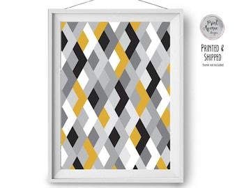 Wall Decor, Geometric Poster, Large Print, Retro Print, Scandinavian Art, Geometric Pattern Print, A1, 20x30, Yellow Grey Art, Print Avenue