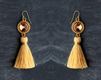 gold tassel earrings gold silk tassel gold boho jewelry gift|for|her gold dangles party jewelry statement earrings summer earrings crystal