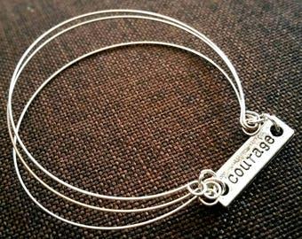 support 3 bracelet strands silver metal