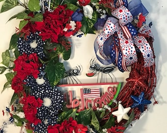 July Fourth Wreath, 4th of July Wreath, Patriotic Wreath, Patriotic Wall Decor