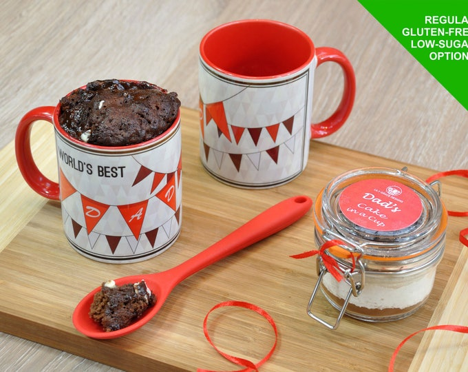 Dad mug, Fathers Day Mug Cake Kit Gift for Dad Worlds Best Dad Cake in a Cup Personalised Present for Father's Day