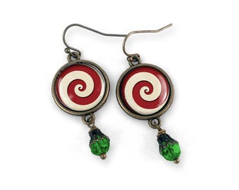 Peppermint Swirl Holiday Earrings in Red and Green