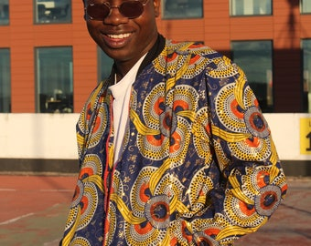 African Jacket - Metallic Jacket - Gold Jacket - African Bomber Jacket - Ankara - African Clothing - Bright Jacket - Wax Jacket
