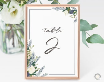 Wedding Table Numbers, Table Numbers, Watercolor Table Number, Navy Blue Table Numbers, Rustic Wedding Decor, Table Number Card, #BGW