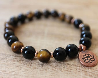 Tiger's Eye and Onyx Mala Bracelet - Crystals for Will Power, Courage, Decision-Making, Protection, Harmony and Balance, Releasing Anxiety