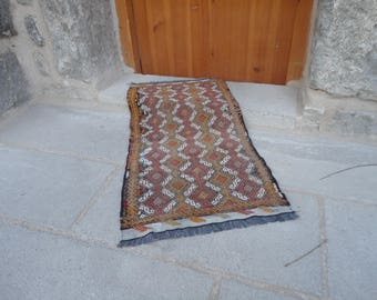 Door mat,FREE SHIPPING !!! Kilim rug ,Turkish vintage rug,home entrance rug,gift rug 33 x 18 country decor,boho ,pileless rug,flat woven rug