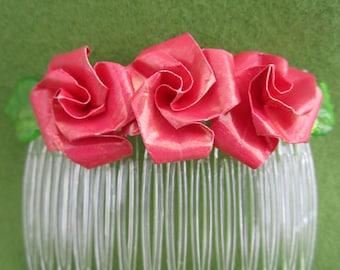 flower hair comb pink, flower hair comb, pink hair flower, pink hair comb, paper roses pink, rose hair comb, rose hair, hair comb floral