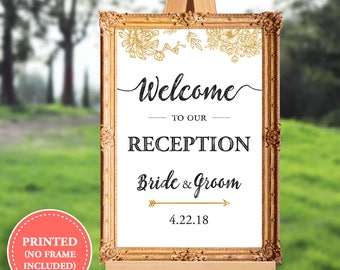 Wedding reception welcome sign - welcome to our reception - 16x20 - 18x24 - 24x36
