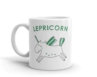 Lepricorn Coffee Mug | Leprechaun Unicorn Gift Mug | Saint Patrick's Day unicorn Mug | St Patrick's Day Gift For Friend | Green Unicorn Mug