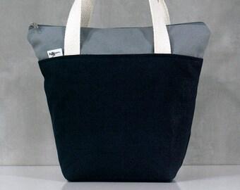 10% OFF [ Orig. 19.99 ]  Navy Lunch bag, Waterproof tote, Canvas Lunch bag, Reusable Lunch bag, Handmade bag, Tote, Gift