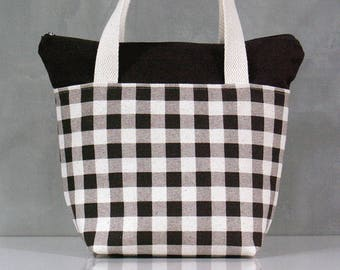 10% OFF [ Orig. 19.99 ]  Lunch bag, Grid pattern Lunch bag, Waterproof tote, Canvas Lunch bag, Reusable Lunch bag, Handmade bag, Tote, Gift