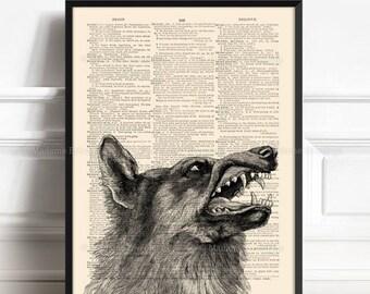 Big Bad Wolf , Book Lover Gift, Vampire Art Print, Werewolf Print, Funny Office Print, Little Red Riding, Horror Wall Decor, Halloween  154