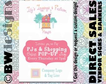 Custom Vendor Booth Poster- Pop Up Shop Sign- Facebook Promotion- Vendor Fair Banner- Direct Sales Marketing- Unique Direct Sales Sign
