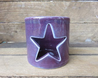 Candle holder title Star Candle Holder, Ceramic Candle Holder, Handmade Candle Holder, Tea Light Hollder, Star, Candle Holder, Purple